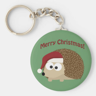 Merry Christmas! Hedgehog Basic Round Button Key Ring