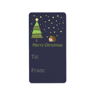 Merry Christmas Hedgehog Holiday Scene Label