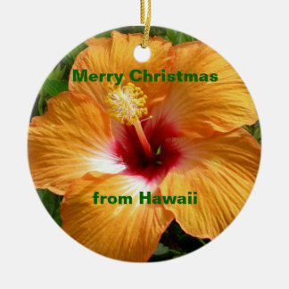 Merry Christmas Hibiscus Christmas Ornament