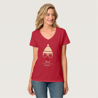 Merry Christmas Hipster Rudolph women's t-shirts