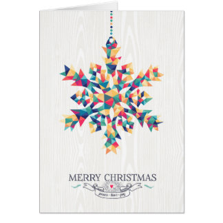 Merry Christmas Hipster Triangle Snowflake Card