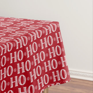 Merry Christmas Ho Ho Ho Red and White Tablecloth