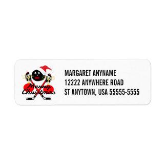 Merry Christmas Hockey Cartoon Return Address Label