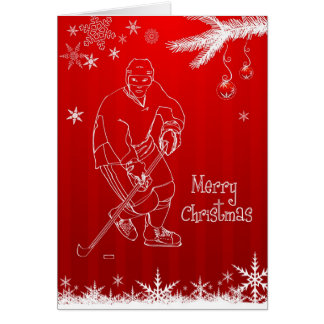 Merry Christmas Hockey Snowflakes Greeting Card