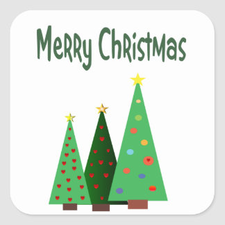Merry Christmas, holiday decorated trees Square Sticker