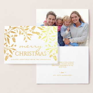 Merry Christmas Holiday Elegant Holly Branches Foil Card