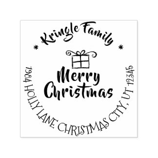 Merry Christmas Holiday Family Return Address Self-inking Stamp