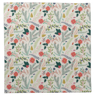 Merry Christmas Holiday Floral Napkin