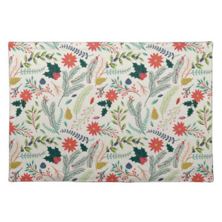 Merry Christmas Holiday Floral Placemat
