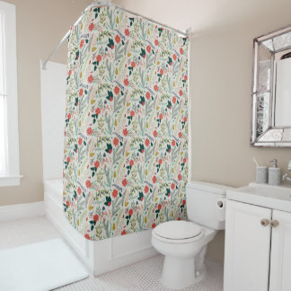 Merry Christmas Holiday Floral Shower Curtain