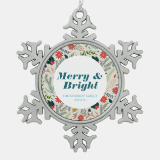Merry Christmas Holiday Floral Snowflake Pewter Christmas Ornament