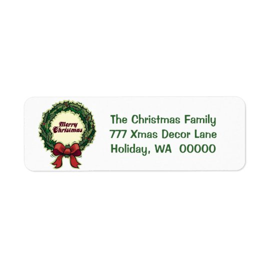 Merry Christmas Holiday Greeting Card Mail Label