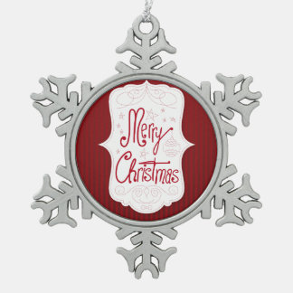 Merry Christmas Holiday Greeting Pewter Snowflake Decoration