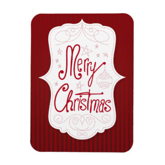 Merry Christmas Holiday Greeting Rectangular Photo Magnet