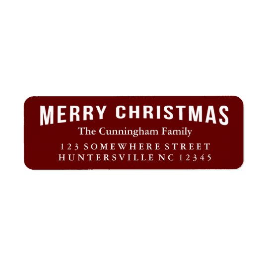 Merry Christmas Holiday Greeting Return Address Label