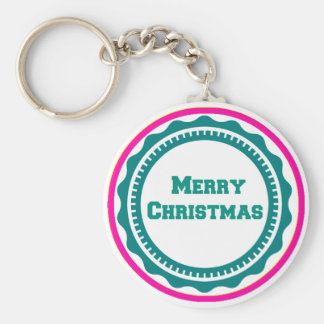 Merry Christmas Holiday Keychains-Stocking Stuffer Basic Round Button Key Ring