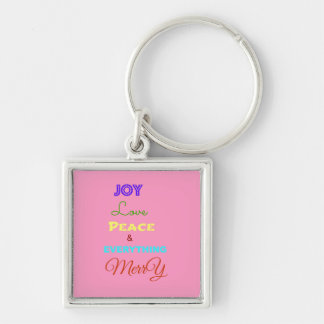 Merry Christmas Holiday Keychains-Stocking Stuffer Silver-Colored Square Key Ring