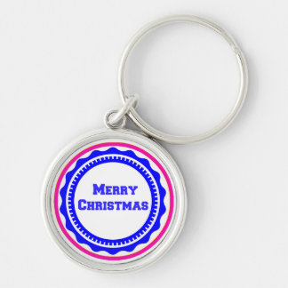 Merry Christmas Holiday Keychains-Stocking Stuffer Silver-Colored Round Key Ring