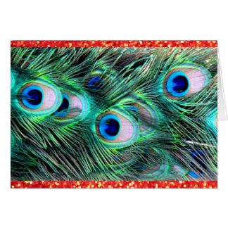 Merry Christmas Holiday Peacock and Red Glitter Greeting Card