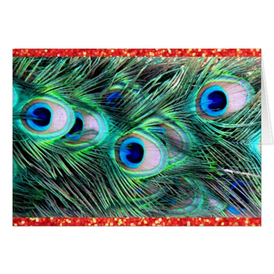 Merry Christmas Holiday Peacock and Red Glitter Card