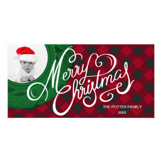 Merry Christmas Holiday Photo Card Green Red Plaid