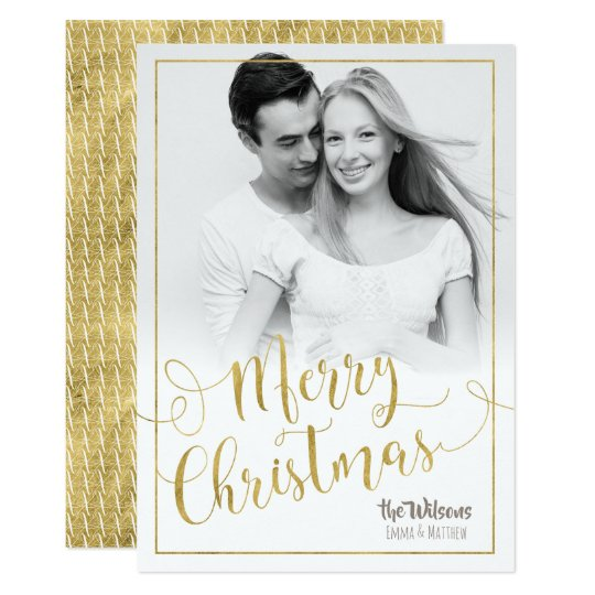 Merry Christmas Holiday Photo Card - White & Gold