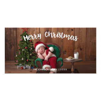 Merry Christmas Holiday Photo Card - White Script