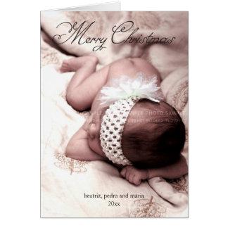 Merry Christmas Holiday Photo Elegant Script Black Greeting Card