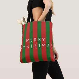 Merry Christmas Holiday Red and Green Striped Tote Bag