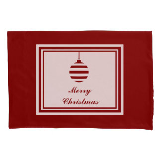 Merry Christmas Holiday Red And White Bauble Pillowcase
