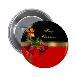 Merry Christmas Holiday Red Bells Black Gold 6 Cm Round Badge