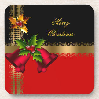 Merry Christmas Holiday Red Bells Black Gold Coaster