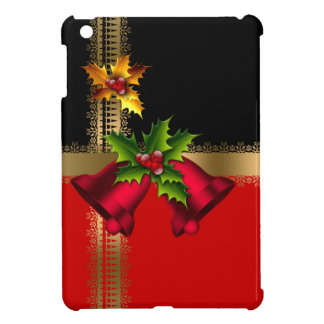 Merry Christmas Holiday Red Bells Black Gold Cover For The iPad Mini