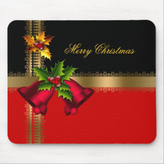 Merry Christmas Holiday Red Bells Black Gold Mouse Mat
