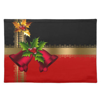 Merry Christmas Holiday Red Bells Black Gold Placemats
