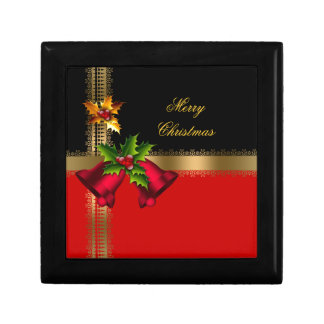 Merry Christmas Holiday Red Bells Black Gold Small Square Gift Box
