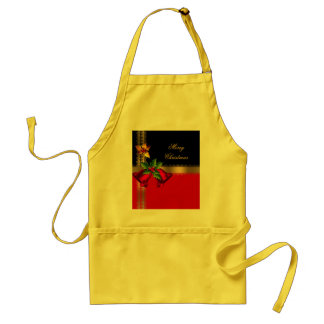 Merry Christmas Holiday Red Bells Black Gold Standard Apron