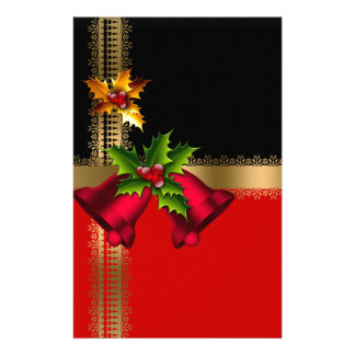Merry Christmas Holiday Red Bells Black Gold Stationery