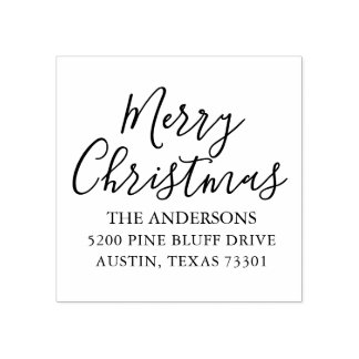 Merry Christmas   Holiday Return Address Stamp
