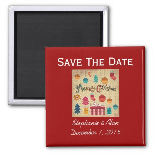Merry Christmas Holiday Save The Date Magnet