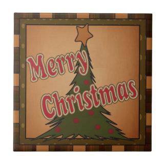 Merry Christmas Holiday Tree Tile