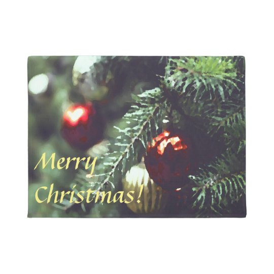 Merry Christmas Holiday Tree with Red Ornaments Doormat
