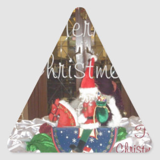 Merry Christmas holidays away from home Inspired A Triangle Sticker
