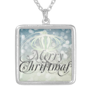 Merry christmas holidays square pendant necklace