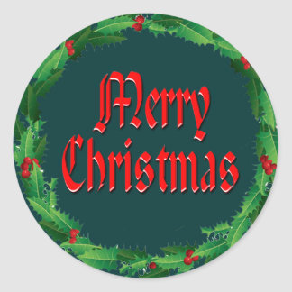 MERRY CHRISTMAS & HOLLY by SHARON SHARPE Classic Round Sticker
