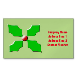 Merry Christmas Holly Custom Magnetic Business Cards