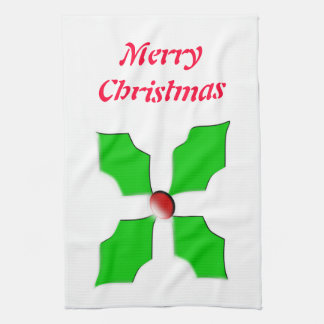 Merry Christmas Holly Customizable Kitchen Towel