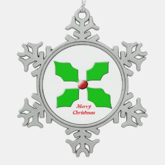 Merry Christmas Holly Customizable Ornament