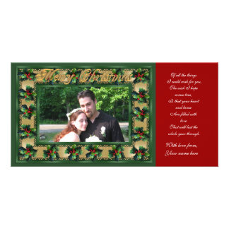 Merry Christmas Holly frame photo card