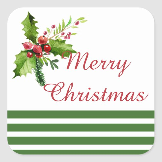 Merry Christmas Holly Holiday Stickers